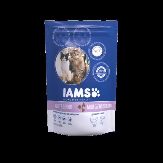 IAMS  MultiCat macskaeledel több cicás háztartásoknak, csirkehúsban gazdag 800 g