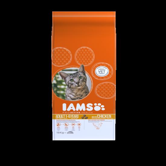 IAMS macskaeledel felnőtt cicáknak, csirkehúsban gazdag 15 kg