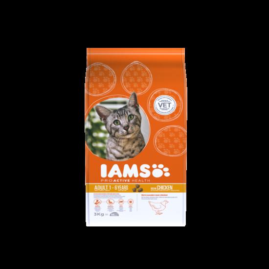 IAMS macskaeledel felnőtt cicáknak, csirkehúsban gazdag 3 kg