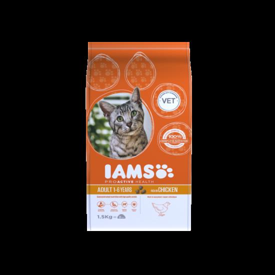 IAMS macskaeledel felnőtt cicáknak, csirkehúsban gazdag 1,5 kg