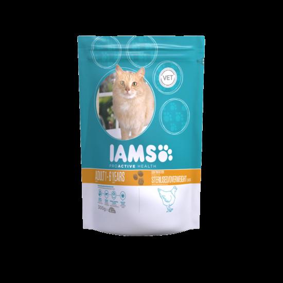 IAMS macskaeledel felnőtt, ivartalanított, hízásra hajlamos cicáknak, csirkehúsban gazdag 300 g