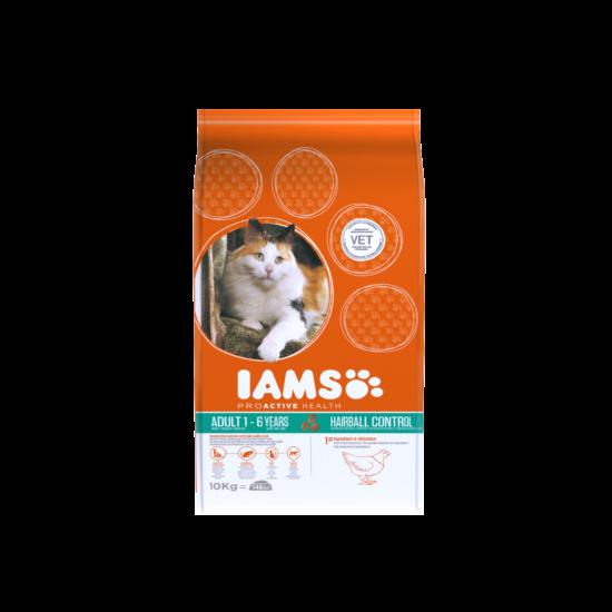 IAMS macskaeledel felnőtt, szőrlabda képződésre hajlamos cicáknak, csirkehúsban gazdag 10 kg