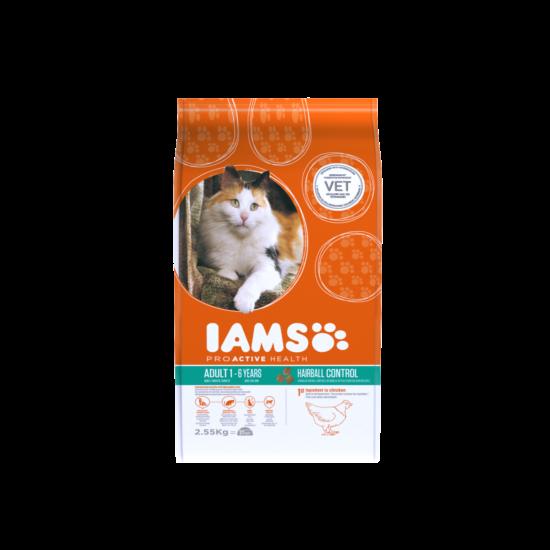 IAMS macskaeledel felnőtt, szőrlabda képződésre hajlamos cicáknak, csirkehúsban gazdag 2,55 kg