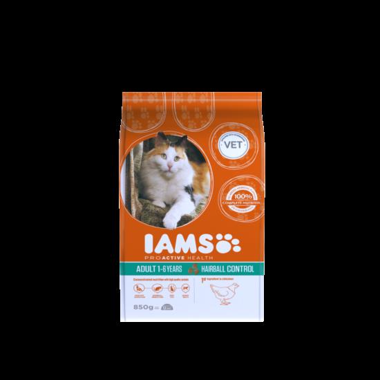 IAMS macskaeledel felnőtt, szőrlabda képződésre hajlamos cicáknak, csirkehúsban gazdag 850 g