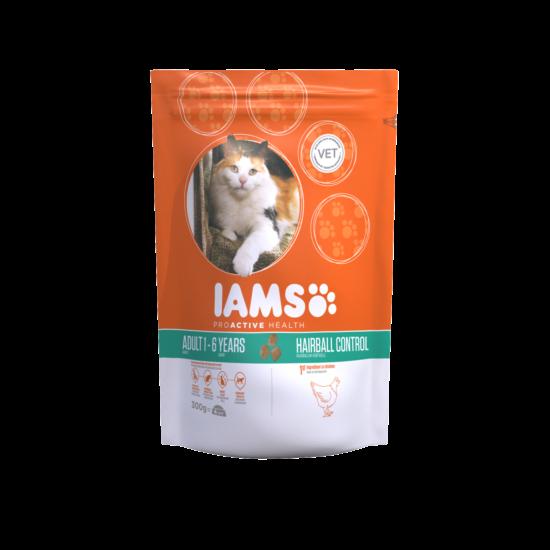 IAMS macskaeledel felnőtt, szőrlabda képződésre hajlamos cicáknak, csirkehúsban gazdag 300 g