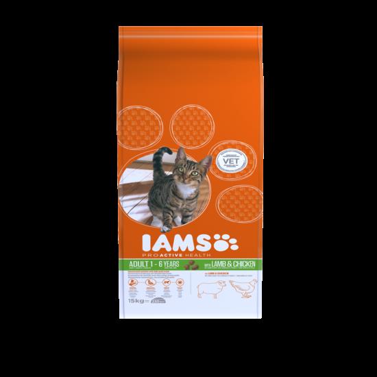 IAMS macskaeledel felnőtt cicáknak, bárány- és csirkehúsban gazdag 15 kg