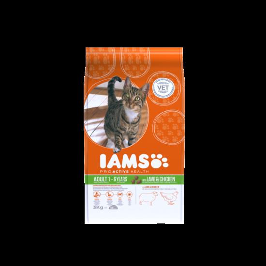 IAMS macskaeledel felnőtt cicáknak, bárány- és csirkehúsban gazdag 3 kg