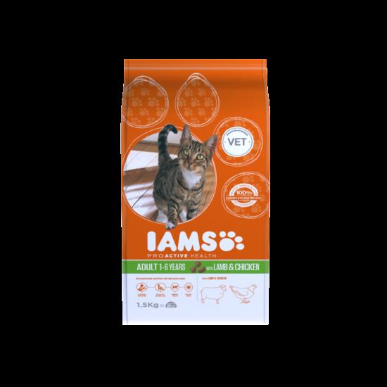 IAMS macskaeledel felnőtt cicáknak, bárány- és csirkehúsban gazdag 1,5 kg