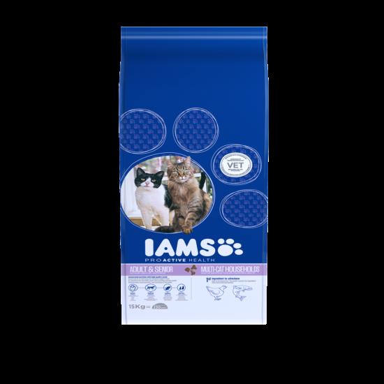 IAMS MultiCat macskaeledel több cicás háztartásoknak, csirkehúsban gazdag 15 kg