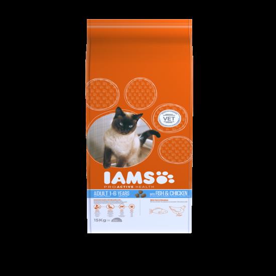 IAMS macskaeledel felnőtt cicáknak, tengeri hallal és csirkével 15 kg