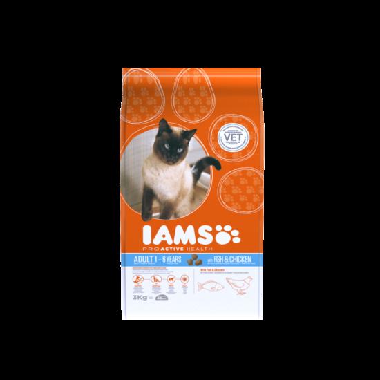 IAMS macskaeledel felnőtt cicáknak, tengeri hallal és csirkével 3 kg