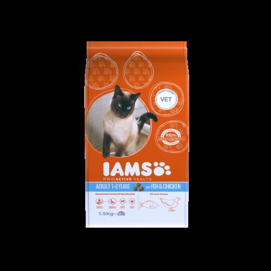 IAMS macskaeledel felnőtt cicáknak, tengeri hallal és csirkével 1,5 kg