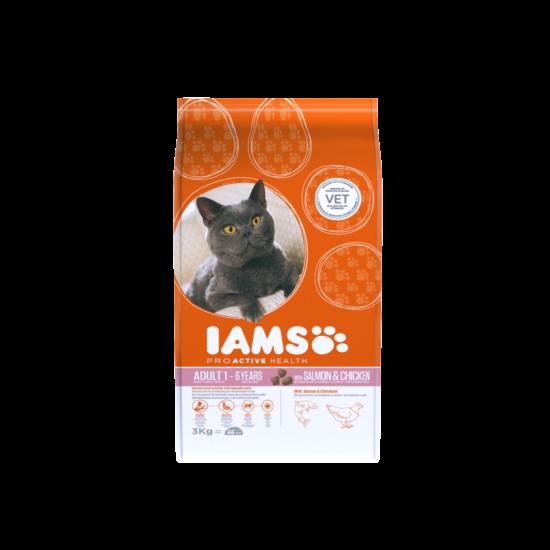 IAMS macskaeledel felnőtt cicáknak, lazaccal és csirkével 3 kg