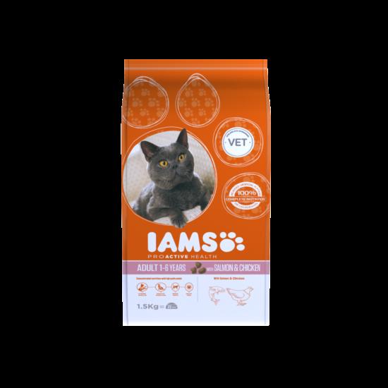 IAMS macskaeledel felnőtt cicáknak, lazaccal és csirkével 1,5 kg