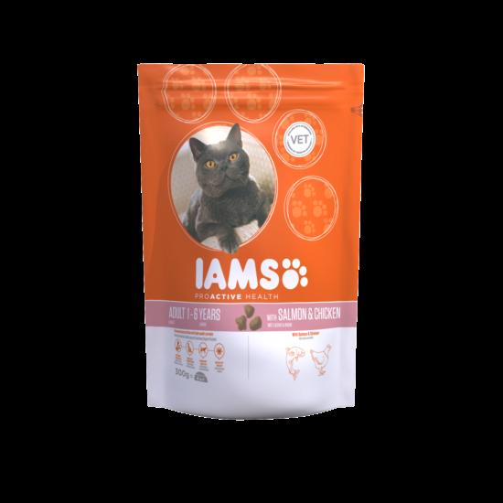 IAMS macskaeledel felnőtt cicáknak, lazaccal és csirkével 300 g