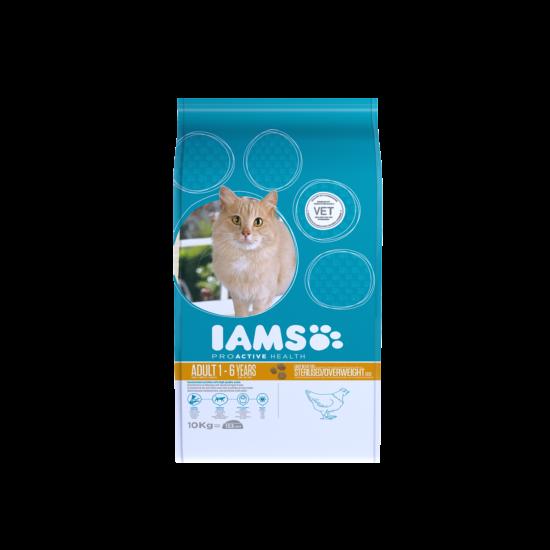 IAMS macskaeledel felnőtt, ivartalanított, hízásra hajlamos cicáknak, csirkehúsban gazdag 10 kg
