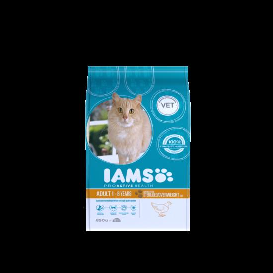 IAMS macskaeledel felnőtt, ivartalanított, hízásra hajlamos cicáknak, csirkehúsban gazdag 850 g