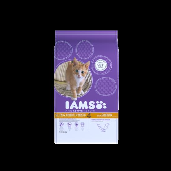 IAMS Kitten&Junior macskaeledel kölyökcicáknak, csirkehúsban gazdag 10 kg