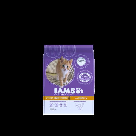 IAMS Kitten&Junior macskaeledel kölyökcicáknak, csirkehúsban gazdag 850 g