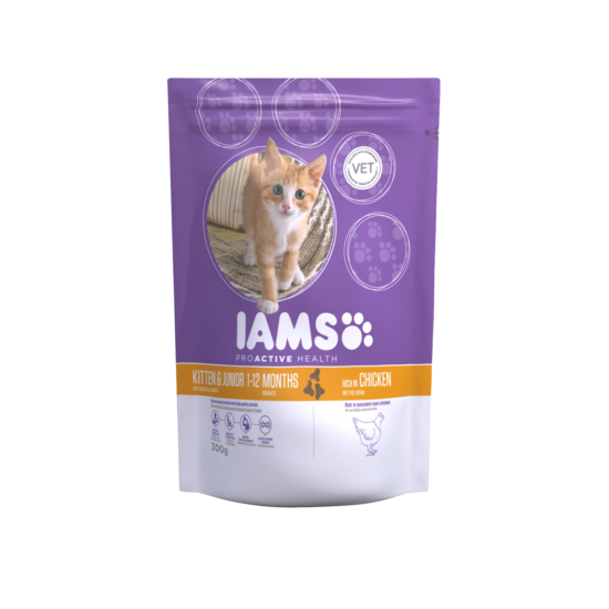 IAMS Kitten&Junior macskaeledel kölyökcicáknak, csirkehúsban gazdag 300 g