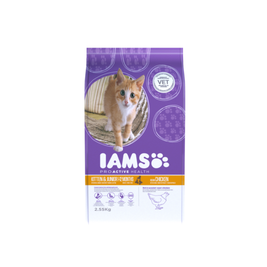 IAMS Kitten&Junior macskaeledel kölyökcicáknak, csirkehúsban gazdag 2,55 kg