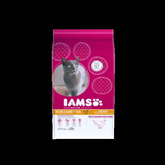 IAMS Senior&Mature macskaeledel idősödő cicáknak, csirkehúsban gazdag 10 kg