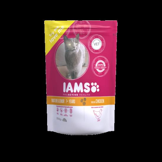 IAMS Senior&Mature macskaeledel idősödő cicáknak, csirkehúsban gazdag 300 g