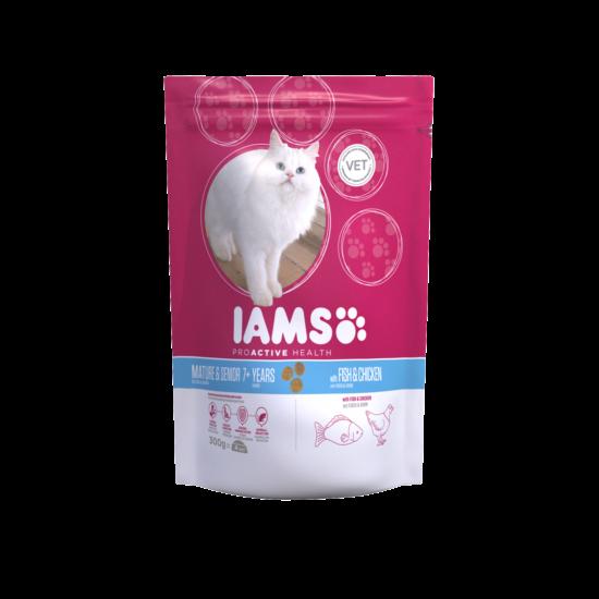 IAMS Senior&Mature macskaeledel idősödő cicáknak, tengeri hallal és csirkével 300 g