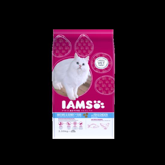 IAMS Senior&Mature macskaeledel idősödő cicáknak, tengeri hallal és csirkével 2,55 kg