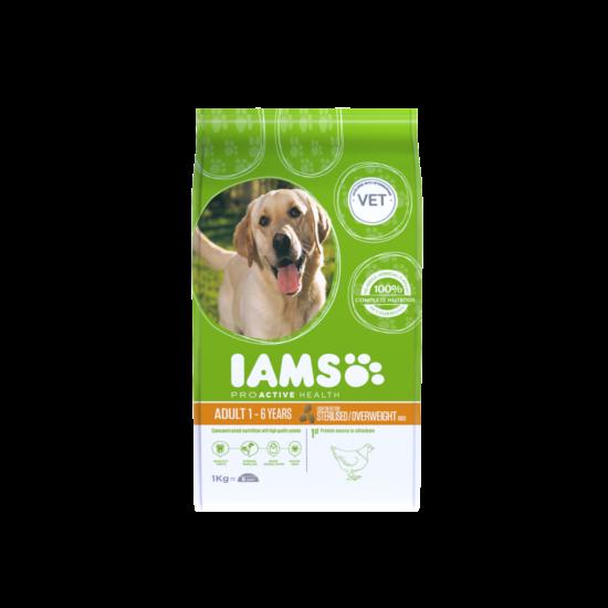 IAMS kutyatáp felnőtt, elhízásra hajlamos kutyáknak, csirkeshúsban gazdag 1 kg