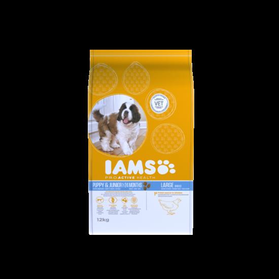 IAMS kutyatáp kölyök, nagy termetű kutyáknak, csirkehúsban gazdag 12 kg