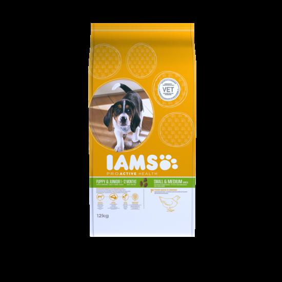 IAMS kutyatáp kölyök, kis és közepes termetű kutyáknak, csirkehúsban gazdag 12 kg