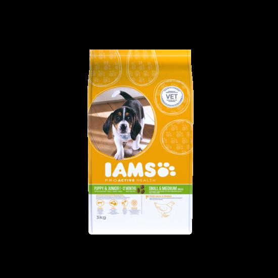 IAMS kutyatáp kölyök, kis és közepes termetű kutyáknak, csirkehúsban gazdag 3 kg