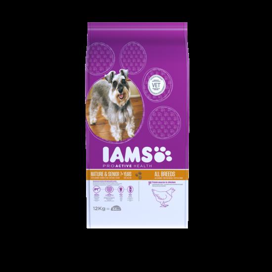 IAMS kutyatáp idősödő kutyáknak, csirkehúsban gazdag 12 kg