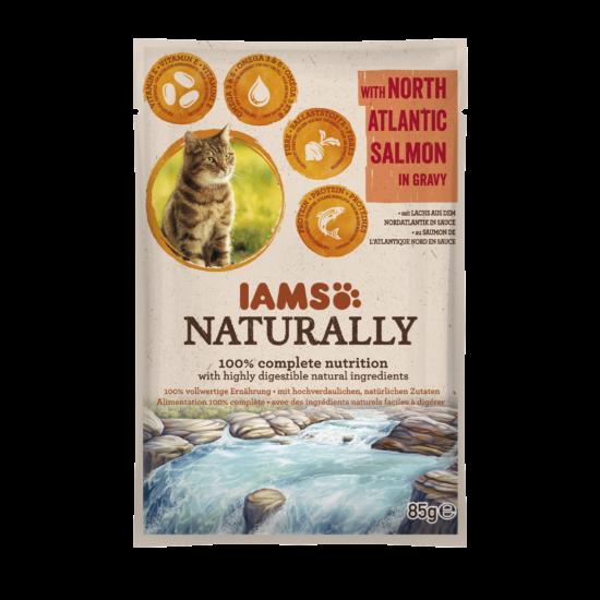 IAMS Naturally Cat észak-atlanti lazac falatok, szószban 85g