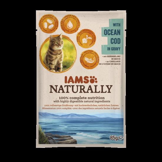 IAMS Naturally Cat óceáni tőkehal falatok, szószban 85g