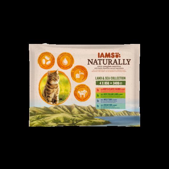 IAMS Naturally Cat felnőtt macskaeledel szószban, többféle ízesítéssel 4x85g