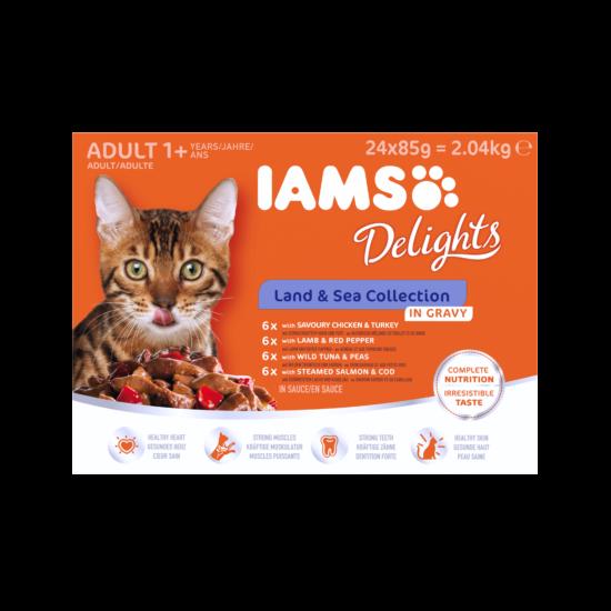 IAMS Delights macskaeledel LAND& SEA IN GRAVY multipack, többféle íz, ízletes szószban 24x85g