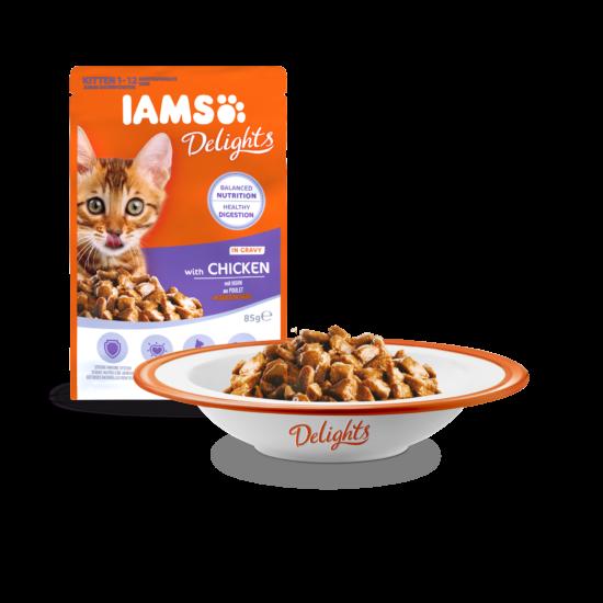 IAMS Delights Kitten kölyök macskáknak, csirke falatkák ízletes szószban 85g